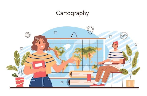 Cartografia do conceito de aula de geografia estudando as características das terras