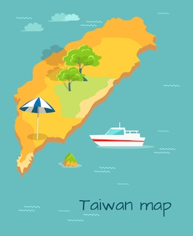 Cartografia do mapa de taiwan. ilha chinesa no oceano