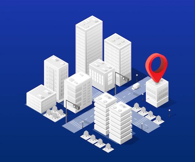 Cartografia urbana da navegação isométrica do mapa da cidade