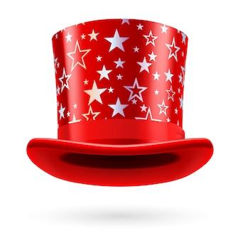 Cartola vermelha com estrelas brancas em fundo branco.