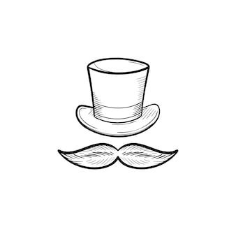 Cartola vintage com ícone de doodle de contorno desenhado de mão bigode. cavalheiro, retrô, moda, estilo, conceito de roupas
