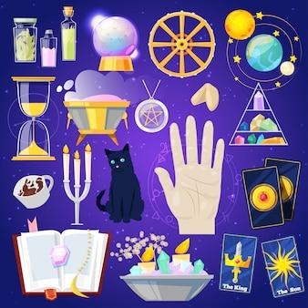 Cartomancia adivinhação ou mágica afortunada do mágico com ilustração de cartões e velas Vetor Premium