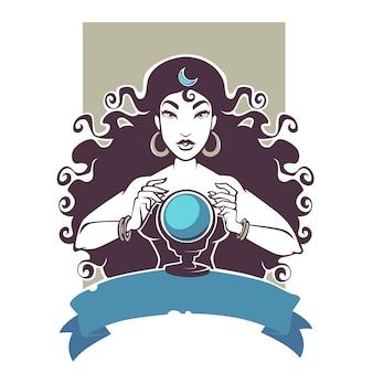 Cartomante, linda cigana lendo futuro na bola de cristal