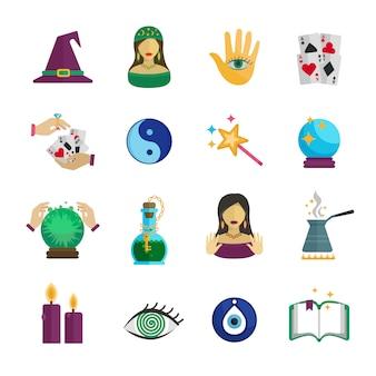 Cartomante mágico e conjunto de ícones de símbolos paranormais