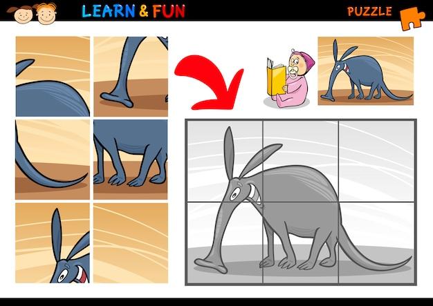 Cartoon aardvark puzzle game