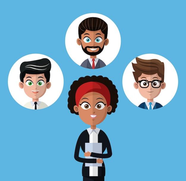 Cartoon afro woman work ofice pasta com homens do grupo
