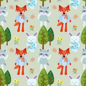 Cartoon animal bonito no padrão sem emenda de floresta.