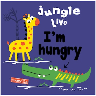 Cartoon animal engraçado ao vivo de selva
