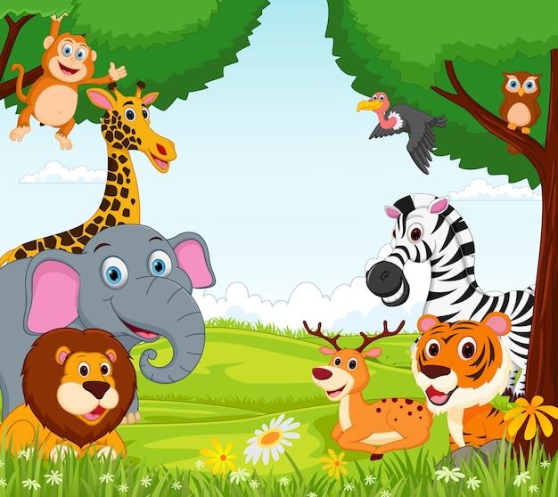 Cartoon animal na selva