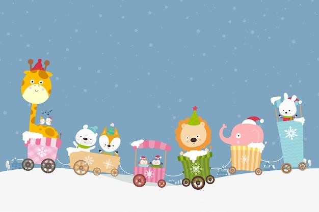 Cartoon animal no trem sorriso com felicidade