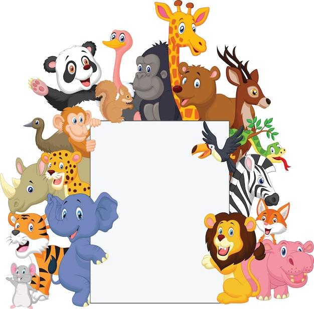 Cartoon animal selvagem com sinal em branco