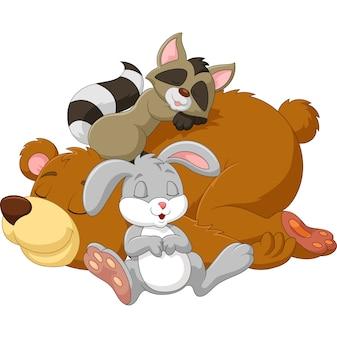 Cartoon animal selvagem dormindo juntos