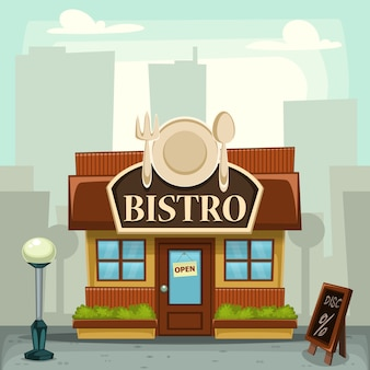 Cartoon bistrô restauran store cidade construção ilustração