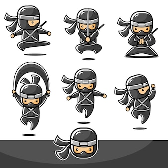 Cartoon black little ninja define ação com seis movimentos diferentes