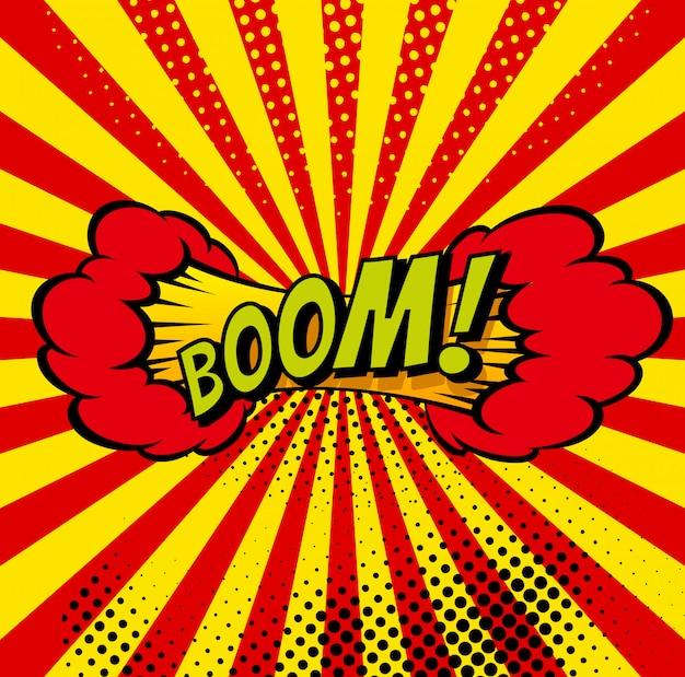 Cartoon, boom explosion bolha do discurso em quadrinhos