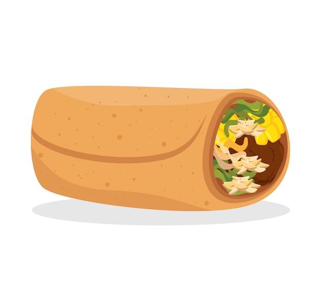 Cartoon burrito food mexico design isolated