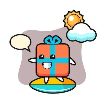 Cartoon caixa de presente surfando na praia