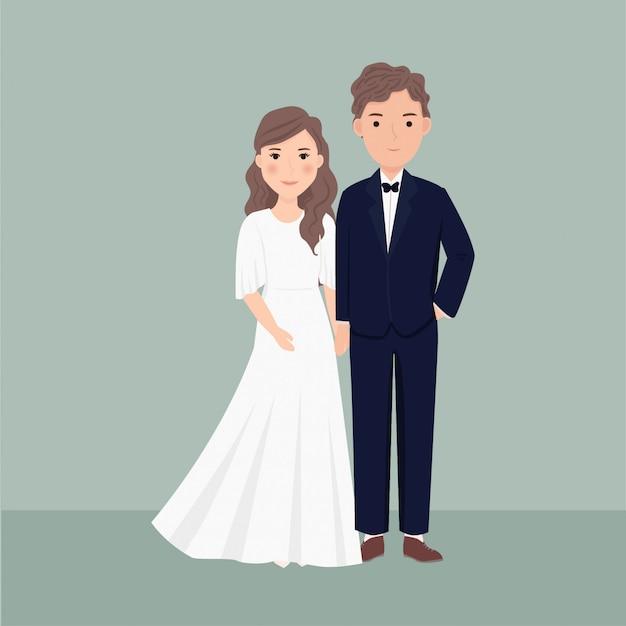Cartoon casal noiva e noivo segurando a mão e usando vestido de noiva