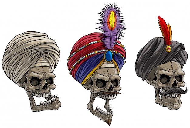 Cartoon caveiras indianas no turbante tradicional
