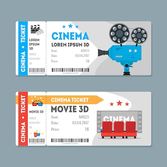 Cartoon cinema ingressos big set flat design style admissão de filmes