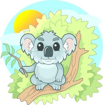 Cartoon coala pequeno bonito sentado em um galho, ilustração engraçada