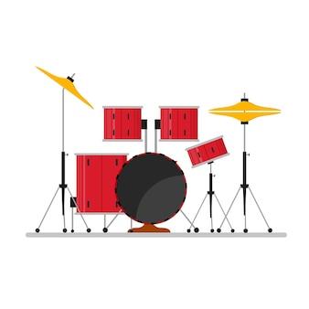 Cartoon color drum kit ou conjunto de instrumentos musicais para shows e festas.
