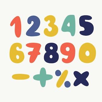 Cartoon colorido conjunto de números desenhados à mão isolados