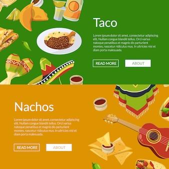 Cartoon comida mexicana web banner ilustração