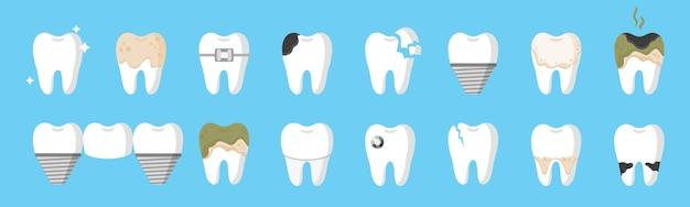Cartoon conjunto de dentes com diferentes tipos de doenças dentais: cárie, tártaro, placa, implante, ponte dentária, aparelho ortodôntico etc. conceito dental.