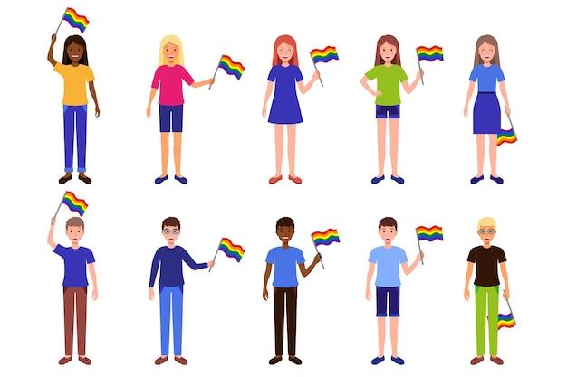Cartoon conjunto de ilustrações com homens e mulheres de diferentes raças segurando bandeiras do arco-íris da comunidade lgbt.
