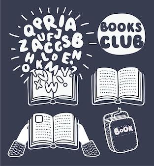 Cartoon conjunto de livros e cartas