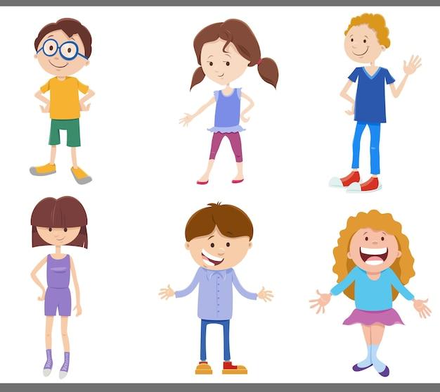 Cartoon conjunto de personagens de quadrinhos para crianças e adolescentes felizes
