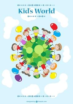 Cartoon crianças de mãos dadas Vetor grátis