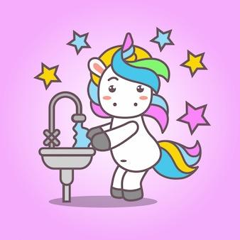 Cartoon_cute kawaii unicorn lavar a mão