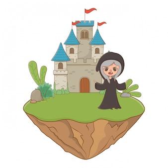Cartoon de bruxa medieval da ilustração de conto de fadas