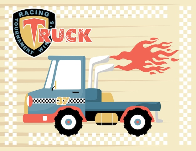 Cartoon de caminhão de corrida