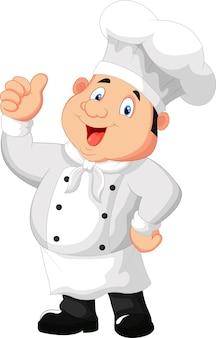 Cartoon de chef dando o polegar para cima