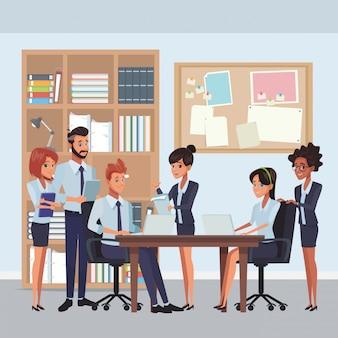 Cartoon de colegas de trabalho executivo de negócios