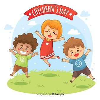 Cartoon de dia das crianças, saltando fundo de personagens