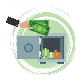 Cartoon de dinheiro salvando negócios