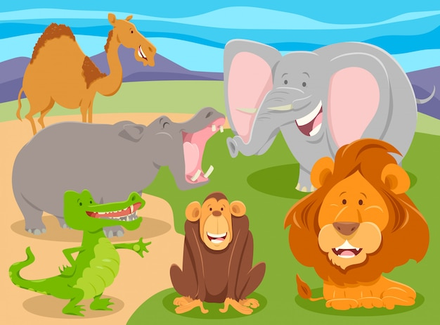 Cartoon de grupo de personagens de animais selvagens