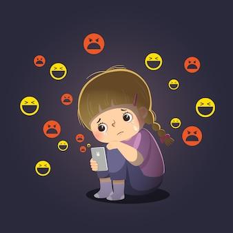 Cartoon de menina triste vítima de cyberbullying on-line, sentada sozinha na câmara escura.