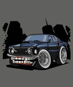 Cartoon de personagem de muscle car de monstro de ilustração