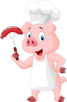 Cartoon de porco chef com salsicha no garfo