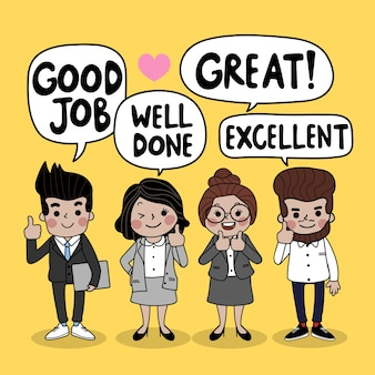 Cartoon de trabalho em equipe de pessoas de negócios