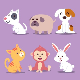 Cartoon desenho com animais selvagens