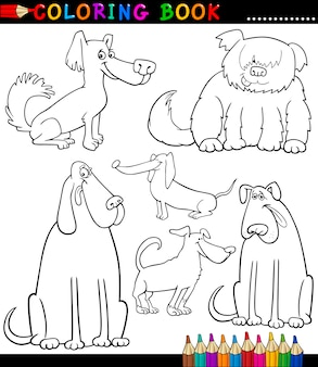Cartoon dogs ou puppies for coloring book