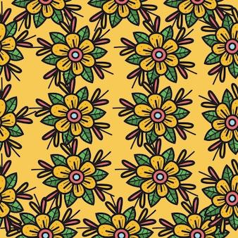 Cartoon doodle flor padrão sem emenda