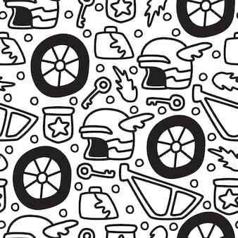 Cartoon doodle motocicleta padrão sem emenda