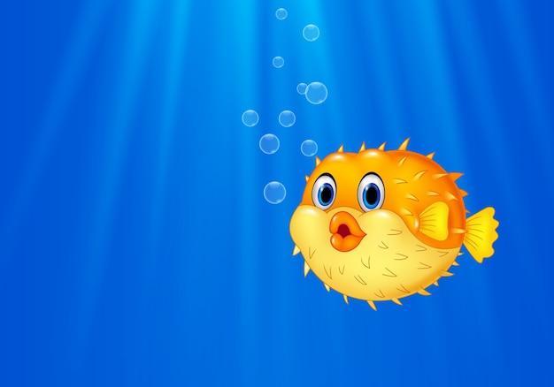 Cartoon engraçado baiacu nadando no oceano